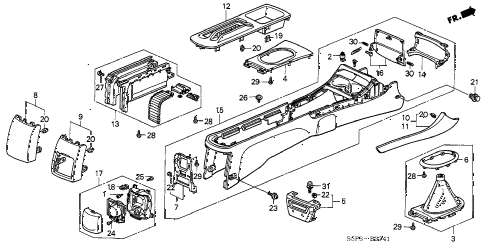 2002 civic EX(SIDE SRS) 2 DOOR 5MT CONSOLE (2) diagram