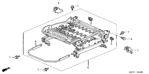 2001 civic DX 2 DOOR 4AT FRONT SEAT COMPONENTS (L.) diagram
