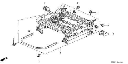 2002 civic LX(SIDE SRS) 2 DOOR 5MT FRONT SEAT COMPONENTS (R.) diagram
