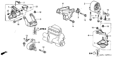 2002 civic DX(SIDE SRS) 2 DOOR 4AT ENGINE MOUNTS (AT) (1) diagram