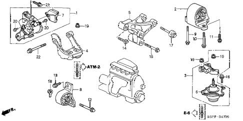 2004 civic EX(SIDE SRS) 2 DOOR 4AT ENGINE MOUNTS (AT) (2) diagram