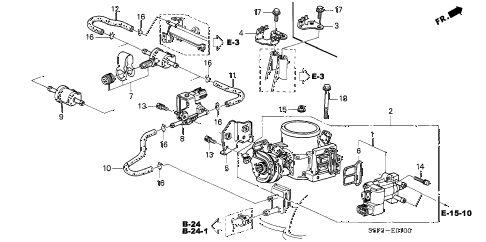2002 civic DX 2 DOOR 4AT THROTTLE BODY diagram
