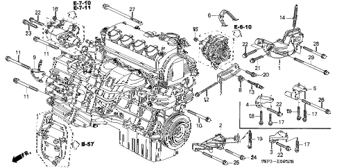 2002 civic EX(SIDE SRS) 2 DOOR 4AT ENGINE MOUNTING BRACKET diagram