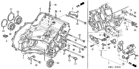 2004 civic LX(SIDE SRS) 2 DOOR 4AT AT TRANSMISSION CASE diagram