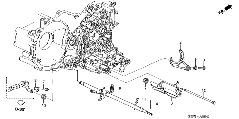 2002 civic DX(SIDE SRS) 2 DOOR 4AT AT SHIFT FORK - CONTROL SHAFT diagram