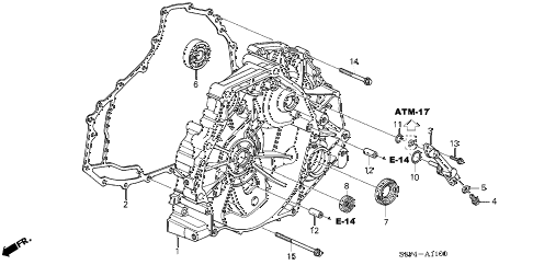 2004 civic HX 2 DOOR CVT CVT FLYWHEEL CASE (CVT) diagram