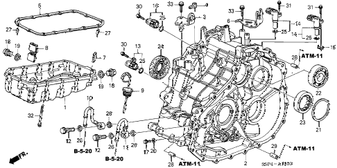 2004 civic HX 2 DOOR CVT CVT TRANSMISSION CASE - OIL PAN (CVT) diagram