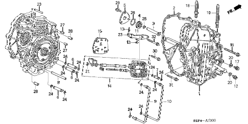 2001 civic HX 2 DOOR CVT CVT RIGHT SIDE COVER (CVT) diagram