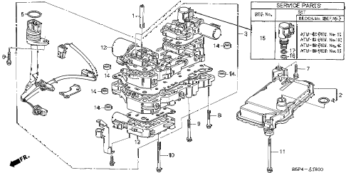 2004 civic HX(SIDE SRS) 2 DOOR CVT CVT VALVE BODY (CVT) diagram
