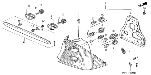 2001 civic DX(SIDE SRS) 2 DOOR 5MT TAILLIGHT - LICENSE LIGHT diagram