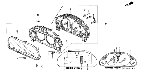 2002 civic LX(SIDE SRS) 2 DOOR 4AT METER COMPONENTS (NS) (1) diagram