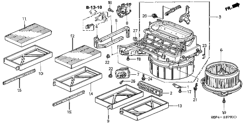 2002 civic LX(SIDE SRS) 2 DOOR 4AT HEATER BLOWER diagram