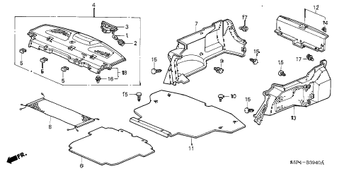 2002 civic DX(SIDE SRS) 2 DOOR 4AT REAR TRAY - TRUNK GARNISH diagram