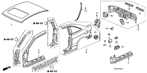2002 civic EX(SIDE SRS) 2 DOOR 5MT OUTER PANEL (PLASMA-CUT PANEL) diagram