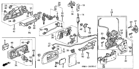2002 civic LX(SIDE SRS) 2 DOOR 4AT DOOR LOCKS diagram