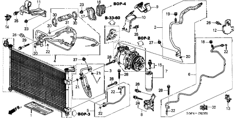 2001 civic HX 2 DOOR CVT A/C HOSES - PIPES diagram