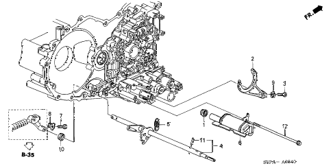 2005 civic EX(SIDE SRS) 2 DOOR 4AT AT SHIFT FORK - CONTROL SHAFT diagram