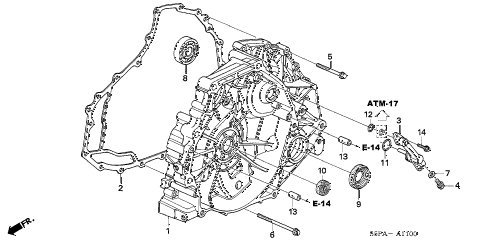 2005 civic HX 2 DOOR CVT AT FLYWHEEL CASE (CVT) diagram