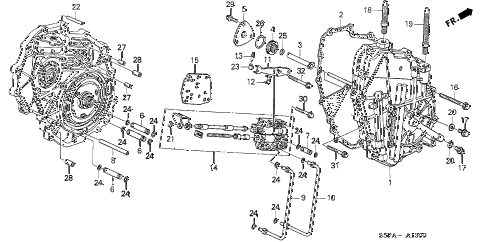 2005 civic HX(SIDE SRS) 2 DOOR CVT CVT RIGHT SIDE COVER (CVT) diagram