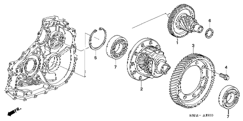 2005 civic HX 2 DOOR CVT CVT DIFFERENTIAL (CVT) diagram