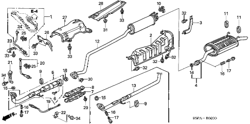 2005 civic EX(SPECIAL EDITIO 2 DOOR 4AT EXHAUST PIPE - MUFFLER diagram