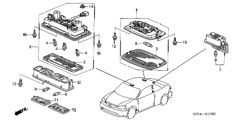 2005 civic EX 2 DOOR 4AT INTERIOR LIGHT diagram