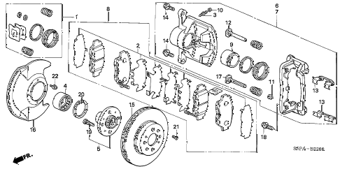 2005 civic DX(VP SIDE SRS) 2 DOOR 5MT FRONT BRAKE diagram