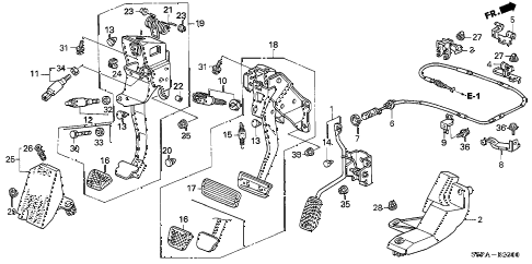 2005 civic HX(SIDE SRS) 2 DOOR 5MT PEDAL diagram