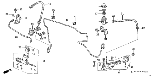 2005 civic HX 2 DOOR 5MT CLUTCH MASTER CYLINDER (1) diagram