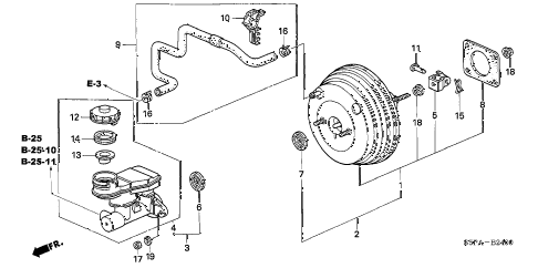 2005 civic LX(SIDE SRS) 2 DOOR 4AT BRAKE MASTER CYLINDER  - MASTER POWER (1) diagram