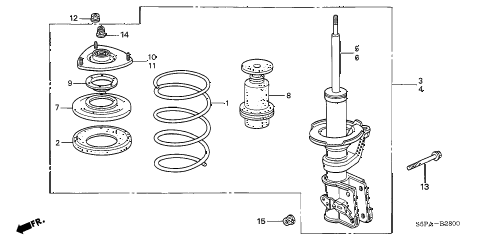 2005 civic LX(SIDE SRS) 2 DOOR 4AT FRONT SHOCK ABSORBER diagram
