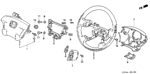 2005 civic LX(SPECIAL EDITIO 2 DOOR 4AT STEERING WHEEL (SRS) diagram