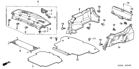 2005 civic LX(SIDE SRS) 2 DOOR 5MT REAR TRAY - TRUNK GARNISH diagram