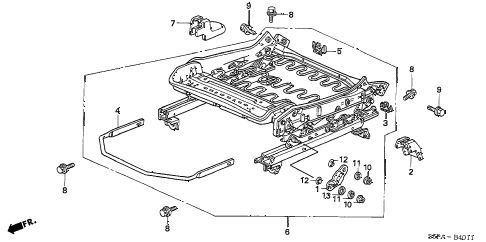 2005 civic EX(SIDE SRS) 2 DOOR 5MT FRONT SEAT COMPONENTS (L.) (MANUAL HEIGHT) diagram