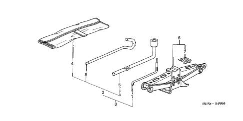 2005 civic EX(SIDE SRS) 2 DOOR 5MT TOOLS - JACK diagram