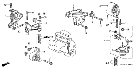 2005 civic HX(SIDE SRS) 2 DOOR CVT ENGINE MOUNTS (CVT) diagram