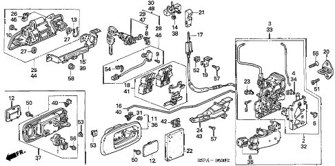 2005 civic EX(SPEC.ED/SIDESR 2 DOOR 5MT DOOR LOCKS diagram
