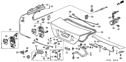 2005 civic DX(VALUE PACKAGE) 2 DOOR 5MT TRUNK LID diagram