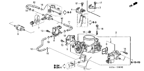 2005 civic LX(SIDE SRS) 2 DOOR 5MT THROTTLE BODY diagram