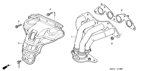 2005 civic EX 2 DOOR 4AT EXHAUST MANIFOLD (SOHC VTEC) diagram