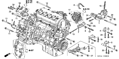 2005 civic EX(SPECIAL EDITIO 2 DOOR 4AT ENGINE MOUNTING BRACKET diagram