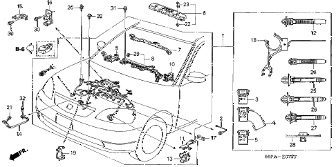 2005 civic HX(SIDE SRS) 2 DOOR 5MT ENGINE WIRE HARNESS diagram