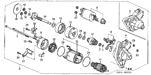 2005 civic HX(SIDE SRS) 2 DOOR CVT STARTER MOTOR (DENSO) diagram
