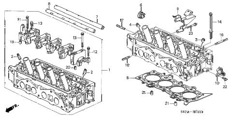 2005 civic DX(VP SIDE SRS) 2 DOOR 5MT CYLINDER HEAD (SOHC) diagram