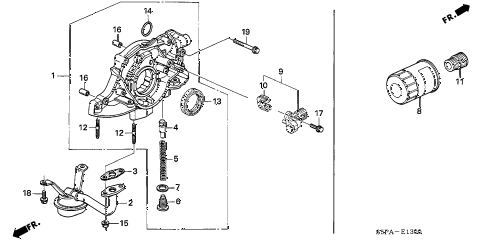 2005 civic EX(SPEC.ED/SIDESR 2 DOOR 4AT OIL PUMP - OIL STRAINER diagram