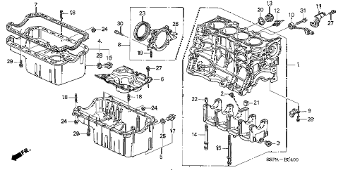 2005 civic EX(SIDE SRS) 2 DOOR 5MT CYLINDER BLOCK - OIL PAN diagram