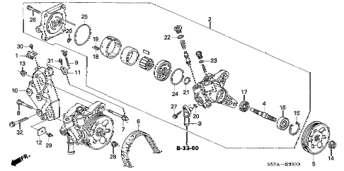 2005 civic DX(VP SIDE SRS) 2 DOOR 4AT P.S. PUMP - BRACKET diagram