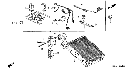 2005 civic HX 2 DOOR 5MT A/C COOLING UNIT diagram