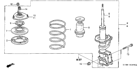 2003 civic SI(SIDE SRS) 3 DOOR 5MT FRONT SHOCK ABSORBER diagram