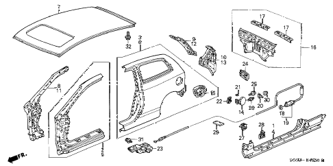 2005 civic SI 3 DOOR 5MT OUTER PANEL diagram
